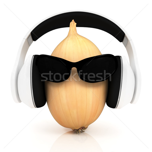 Ripe onion with sun glass and headphones front 'face' Stock photo © Guru3D
