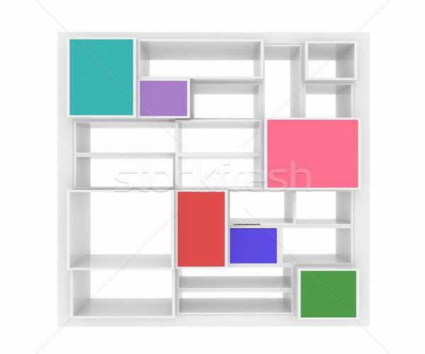 3D изолированный пусто красочный книжная полка белый Сток-фото © Guru3D