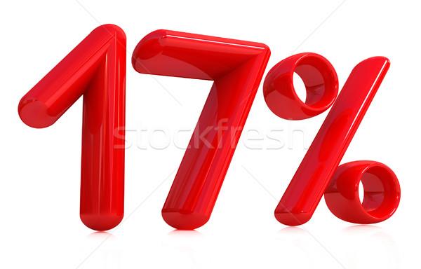 3D красный 17 семнадцать процент белый Сток-фото © Guru3D