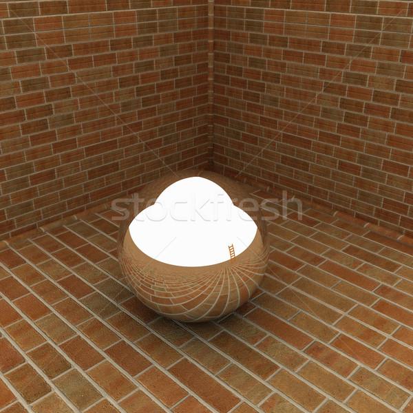 クロム ボール コーナー レンガ 壁 塗料 ストックフォト © Guru3D