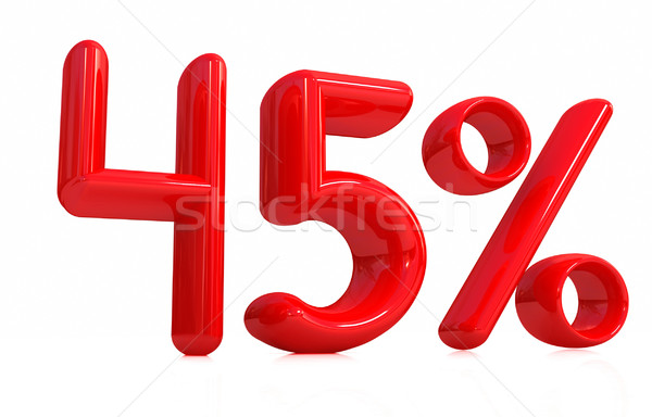 3D czerwony czterdzieści pięć procent biały Zdjęcia stock © Guru3D