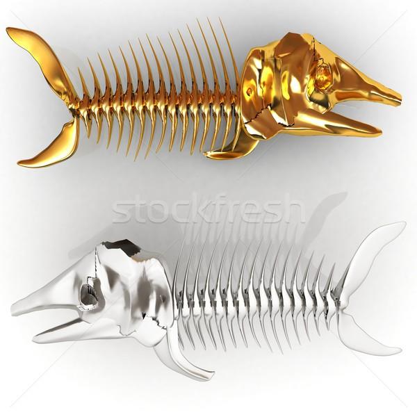 3D иллюстрация рыбы скелет белый медицинской Сток-фото © Guru3D