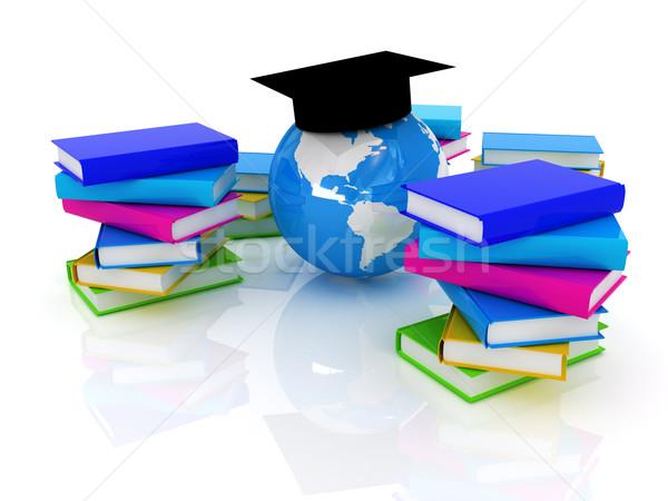 Stock fotó: Globális · oktatás · könyv · földgömb · diák · világ