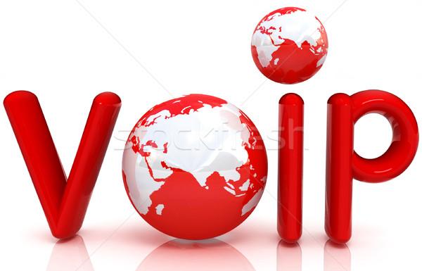 Słowo voip 3D świecie komputera telefonu Zdjęcia stock © Guru3D