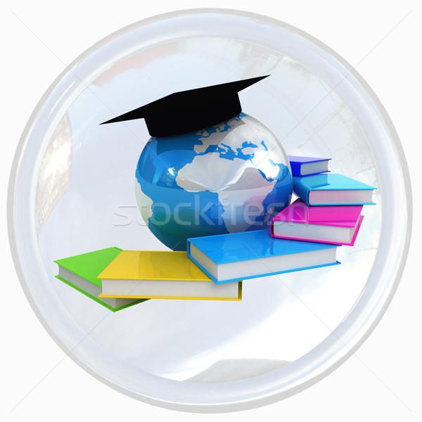 Global eğitim düğme beyaz kitap dünya Stok fotoğraf © Guru3D