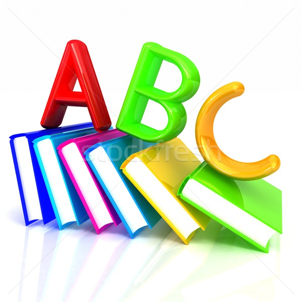Stock fotó: ábécé · színes · igazi · könyvek · fehér · üzlet