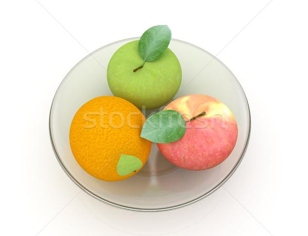 Narenciye elma plaka beyaz meyve yeşil Stok fotoğraf © Guru3D
