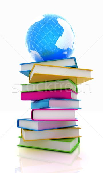 Kleurrijk boeken aarde witte boek wereldbol Stockfoto © Guru3D