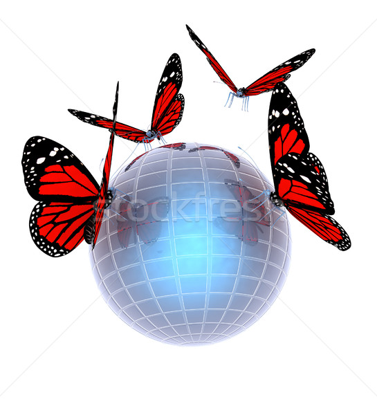 Red butterfly on abstract 3d sphere with blue mosaic design  Stock photo © Guru3D