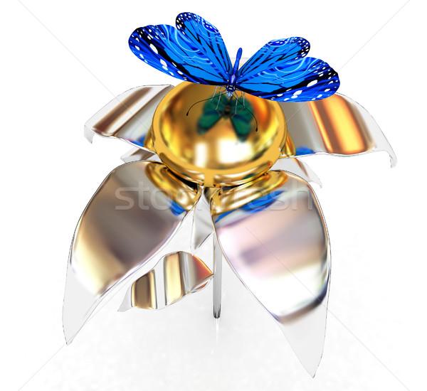 Mavi krom çiçek altın kafa beyaz Stok fotoğraf © Guru3D