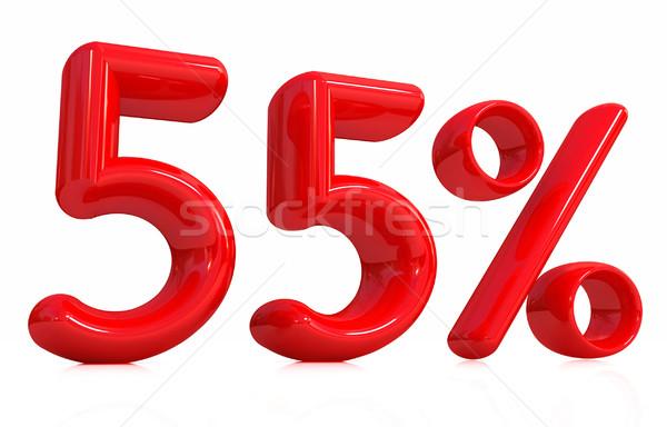 Сток-фото: 3D · красный · пятьдесят · пять · процент · белый