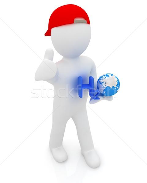 3D küçük adam formül su beyaz Stok fotoğraf © Guru3D