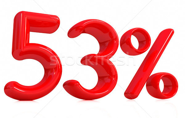 Сток-фото: 3D · красный · пятьдесят · три · процент · белый