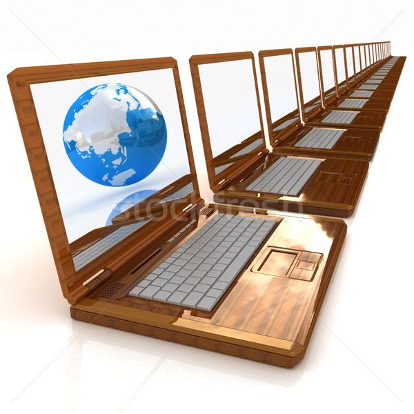 Computer netwerk online eco houten laptop Stockfoto © Guru3D