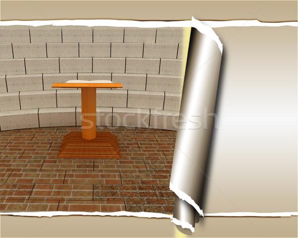抽象的な 未来的な インテリア レンガ シーン 壁 ストックフォト © Guru3D