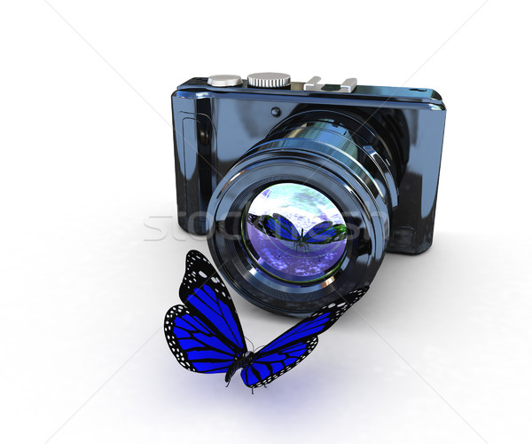 3d illustration of photographic camera and butterfly Stock photo © Guru3D