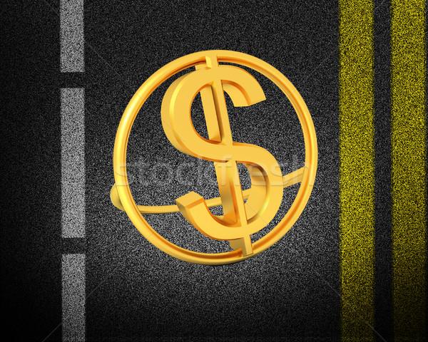 Asfalt soyut 3d metin altın dolar ikon Stok fotoğraf © Guru3D