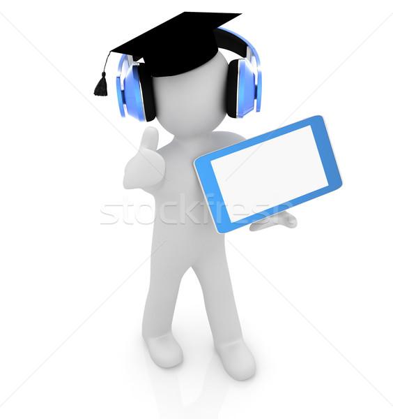 3D blanke man hoed duim omhoog hoofdtelefoon Stockfoto © Guru3D
