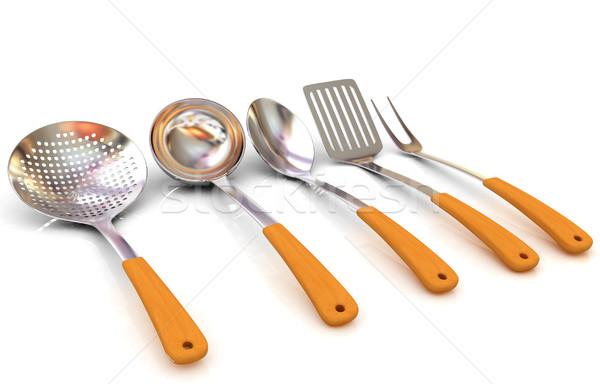 çatal bıçak takımı beyaz gıda Metal restoran imzalamak Stok fotoğraf © Guru3D