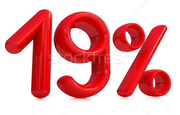 3D piros 19 tizenkilenc százalék fehér Stock fotó © Guru3D