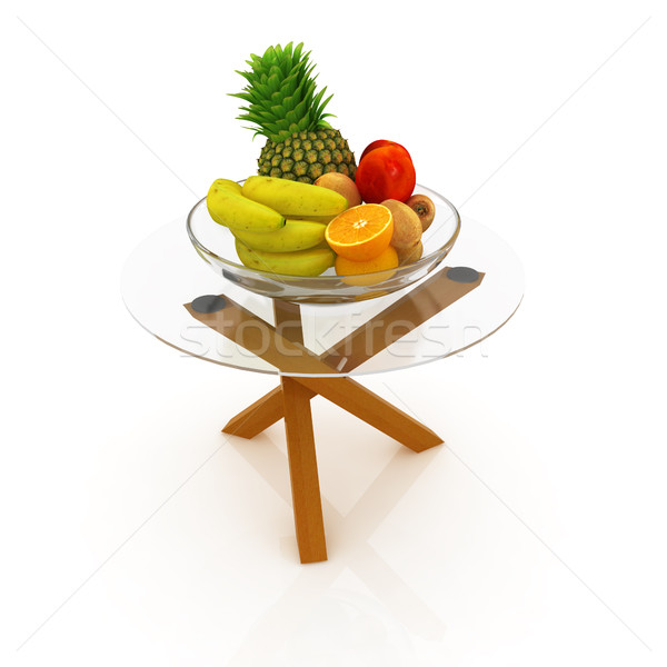 Citrus in a glass dish on exotic glass table with wooden legs Stock photo © Guru3D