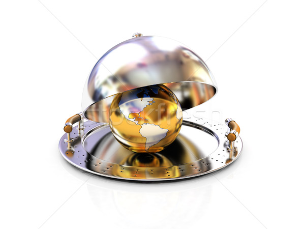 Earth globe on glossy salver dish under a cover Stock photo © Guru3D