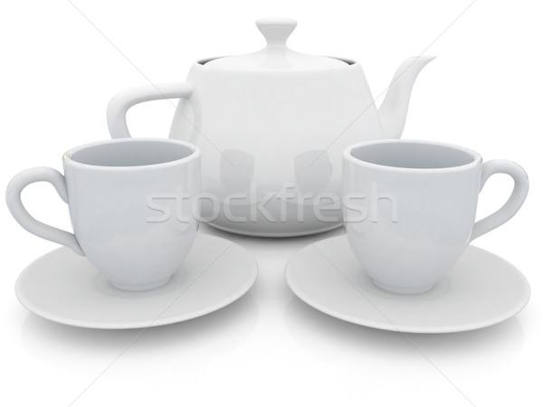 Stok fotoğraf: 3D · demlik · beyaz · gıda · kahve