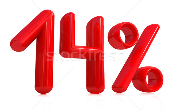 3d red '14' - fourteen percent Stock photo © Guru3D