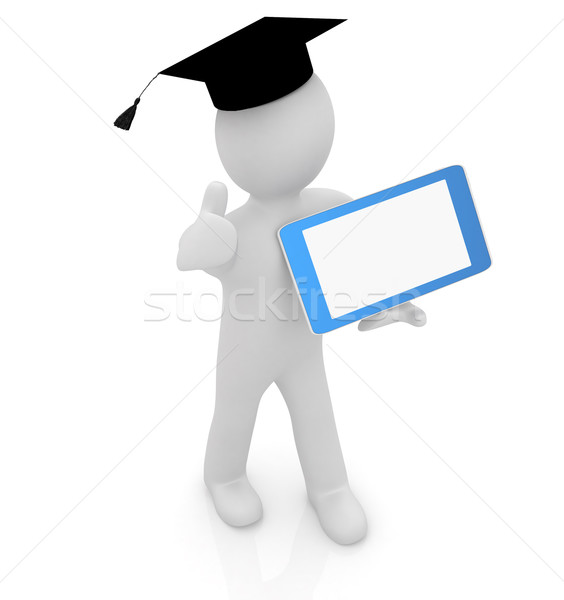 3d white man in a grad hat with thumb up and tablet pc - best gi Stock photo © Guru3D