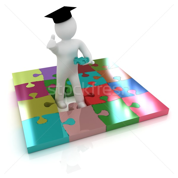 3d man in a graduation Cap with thumb up with individual puzzles Stock photo © Guru3D