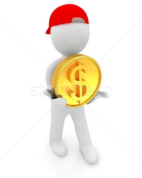 3D faible homme or dollar pièce Photo stock © Guru3D