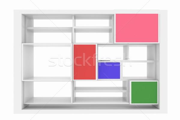 3D odizolowany pusty kolorowy półka na książki biały Zdjęcia stock © Guru3D