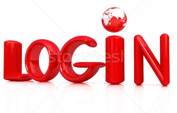 3D vermelho texto login branco computador Foto stock © Guru3D