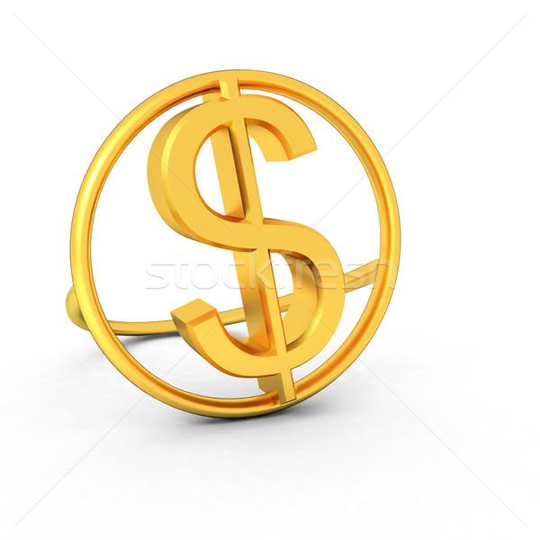 3d metin altın dolar ikon beyaz para Stok fotoğraf © Guru3D