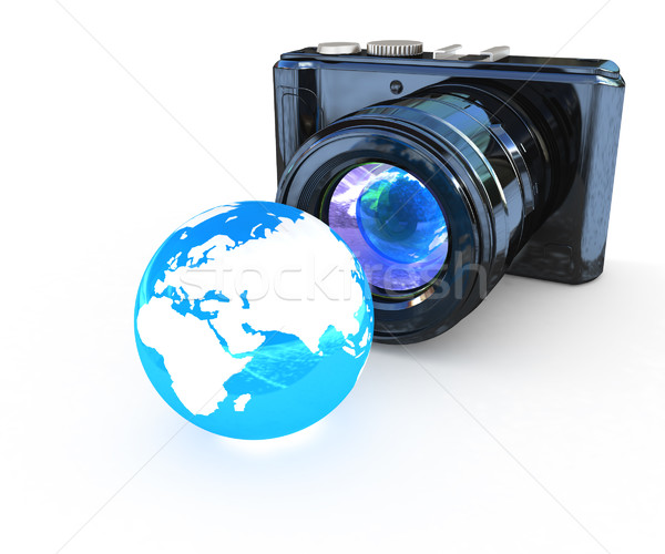 3d illustration of photographic camera and Earth Stock photo © Guru3D