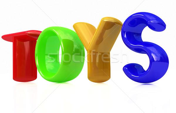 Oyuncaklar 3d metin beyaz kâğıt okul soyut Stok fotoğraf © Guru3D