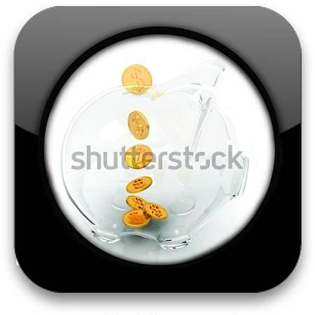 Glas spaarvarken vallen munten witte geld Stockfoto © Guru3D