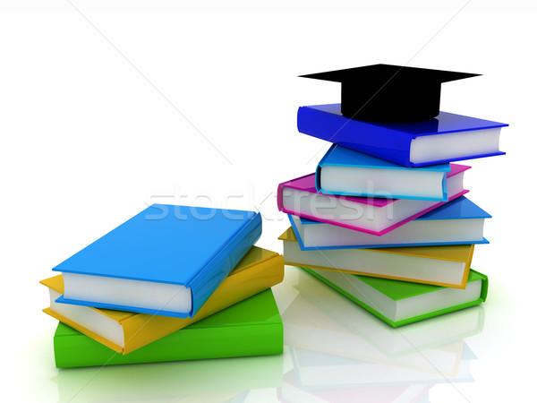 Afstuderen hoed boeken witte boek school Stockfoto © Guru3D