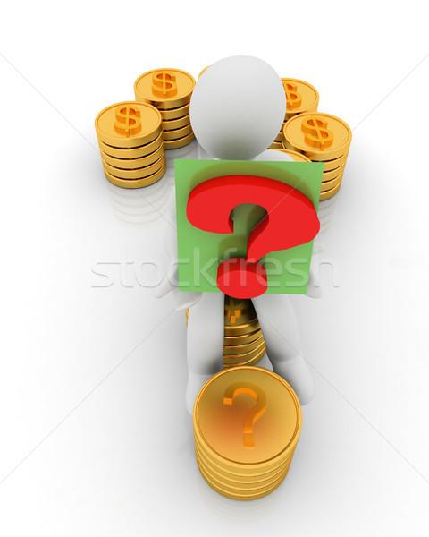 вопросительный знак форме Золотые монеты знак доллара 3D 3d человек Сток-фото © Guru3D