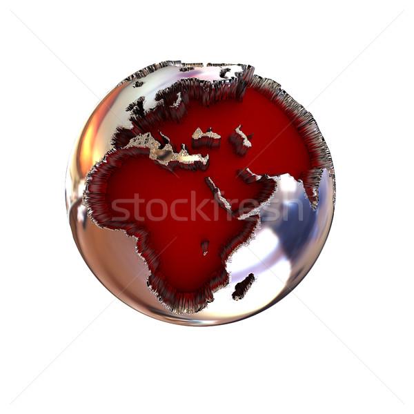 3d illustration chroom aarde wereldbol witte kaart Stockfoto © Guru3D