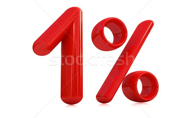 3D Rood een procent witte computer Stockfoto © Guru3D