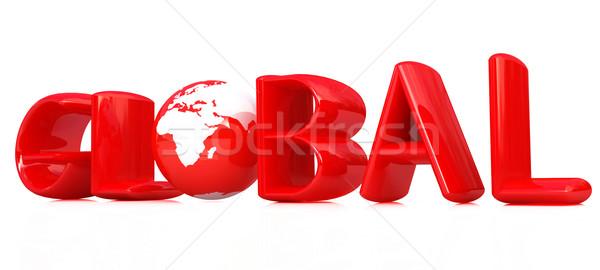 3d tekst globale wereldbol witte internet technologie Stockfoto © Guru3D