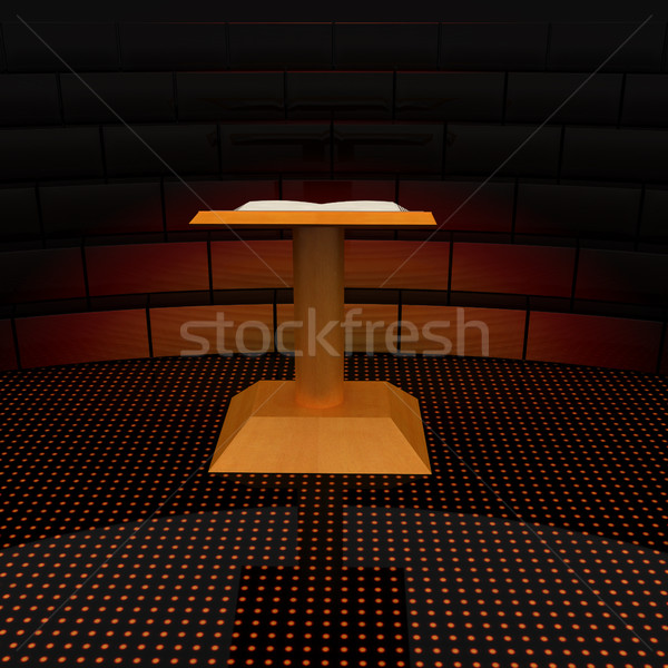 3d render of podium with an open book  Stock photo © Guru3D