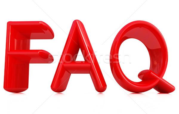 Faq 3D rouge texte blanche design Photo stock © Guru3D