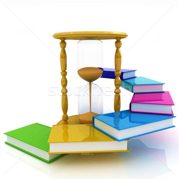 Kum saati kitaplar beyaz iş kum zaman Stok fotoğraf © Guru3D