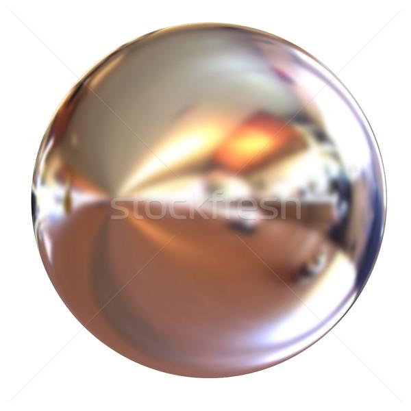 Chroom bal 3d render witte ontwerp technologie Stockfoto © Guru3D