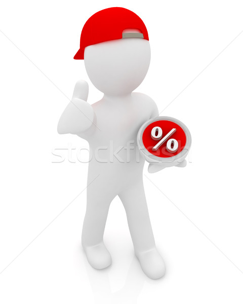 Best percent! 3d man in a red peaked cap keeps the most benefici Stock photo © Guru3D