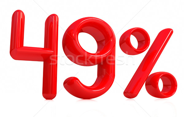3D czerwony czterdzieści dziewięć procent biały Zdjęcia stock © Guru3D