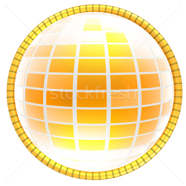 Geel 3D wereldbol icon kaart abstract Stockfoto © Guru3D