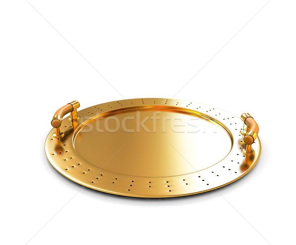 Goud voedsel hand ontwerp keuken plaat Stockfoto © Guru3D